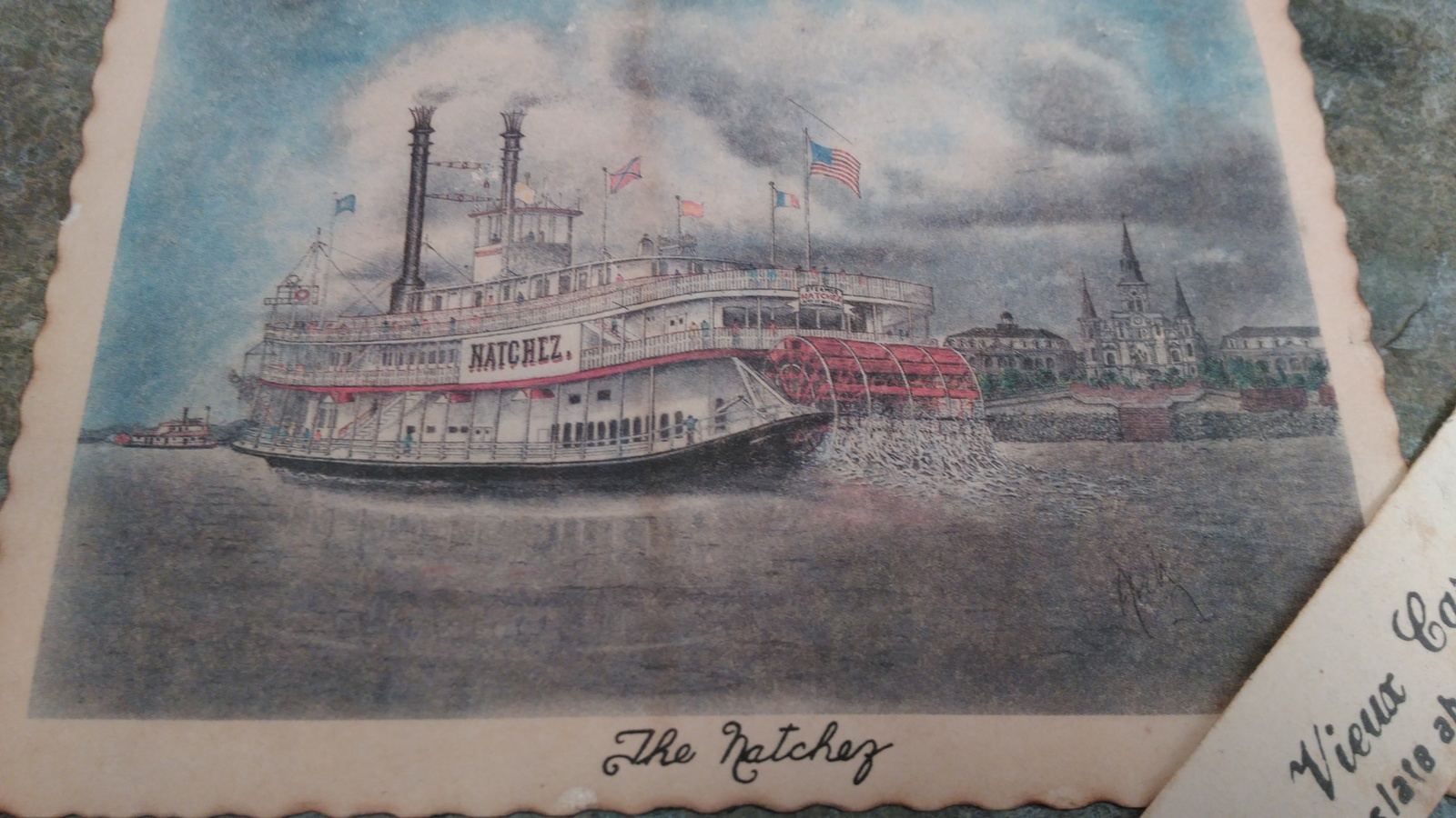 Steamboat Natchez Drawing on a Vieux Carre' Roofing Slate about 175 Years Old