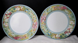 Floral Meadow Mikasa CAB01 1992 - 1993 2 Dinner Plates Pair IN Good Shape  - $18.32