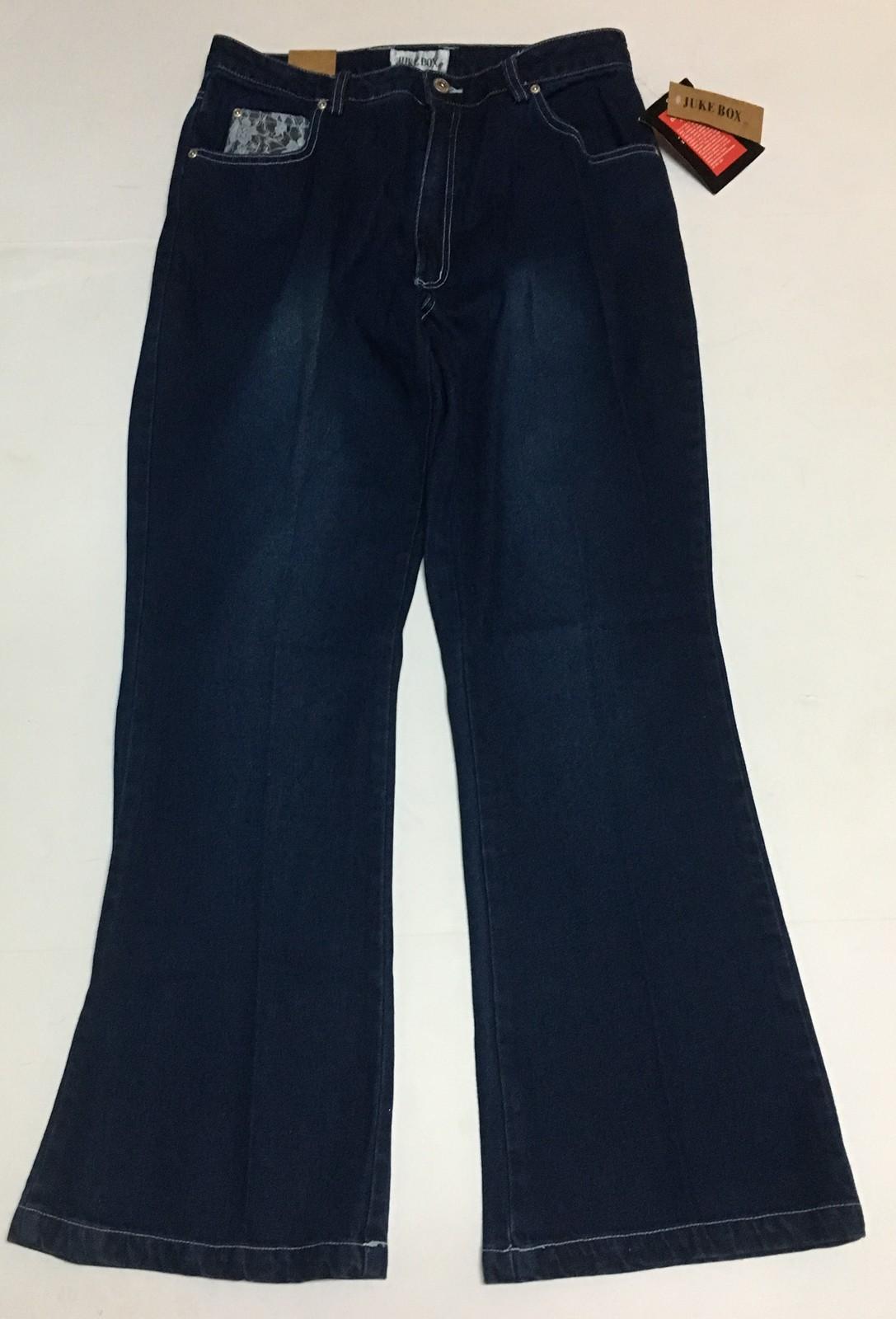 Juke Box Dark Indigo Denim Jeans Sz 11 Blue Lace Hearts NWT image 2
