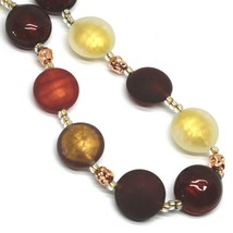 """NECKLACE RED BROWN YELLOW ROUNDED MURANO GLASS DISC, 45cm, 18"""", MADE IN ITALY image 2"""