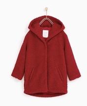 New Zara Girls Knit Hooded Coat Red 10 Wool Blend - $46.40