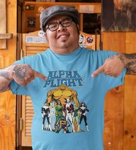 Alpha Flight T-shirt Aurora Guardian Puck Sasquatch Shaman 90s Marvel blue tee image 3
