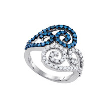 10kt White Gold Womens Round Blue Colored Diamond Swirl Cluster Ring 1.0... - £504.01 GBP