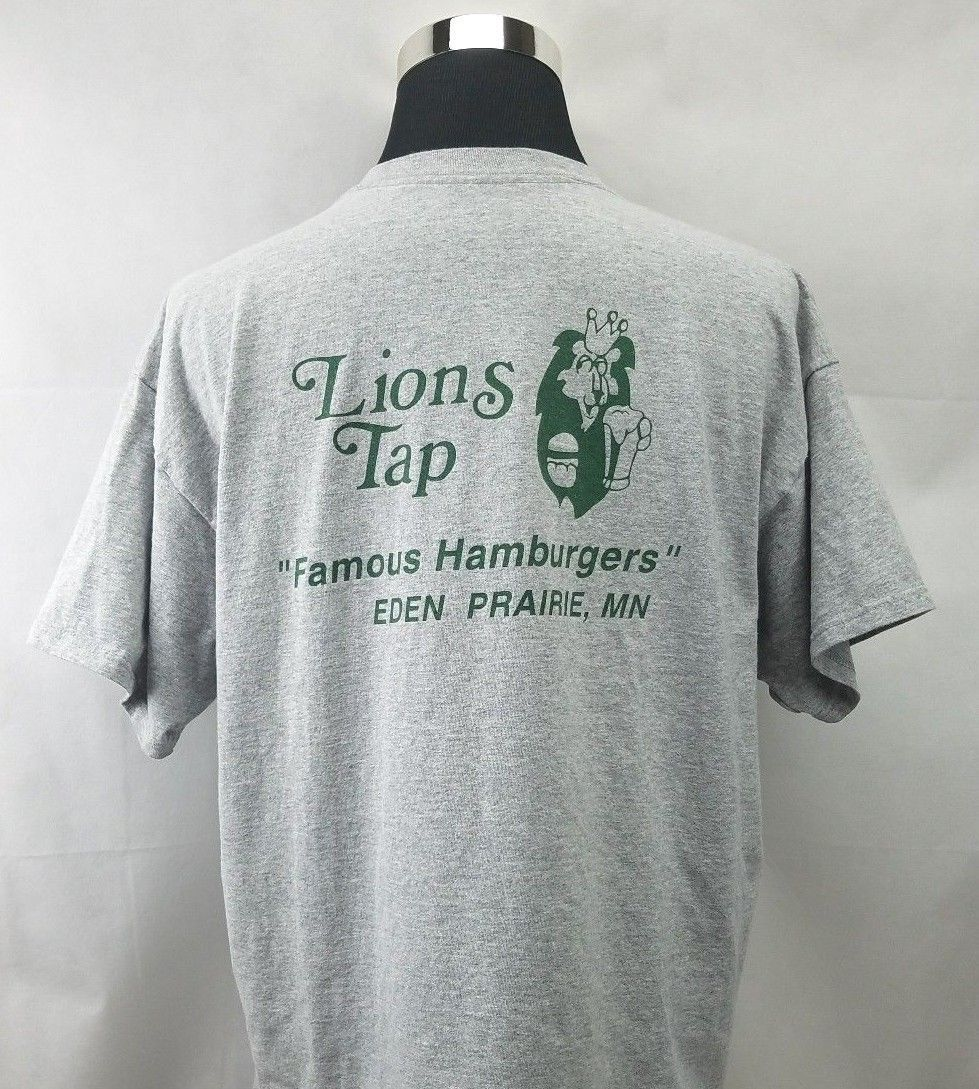 LIONS TAP Famous Hamburgers Bar Mens T Shirt Gray  Eden Prairie MN Size XXL image 3