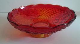 "VINTAGE AMBERINA GLASS BOWL FOOTED RUFFLE DIAMOND CUT FRUIT BOWL 11"" Dia... - $33.75"