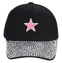 Pink Star Hat - Black Rhinestone Adjustable Womens - $17.05