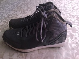Under Armour shoes Boys Size 4.5Y gray leather basketball athletic sport... - $34.99