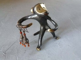 Vintage Ring Holder Brass Monkey Figurine Monkey Bronze Statuette Brass ... - $29.00