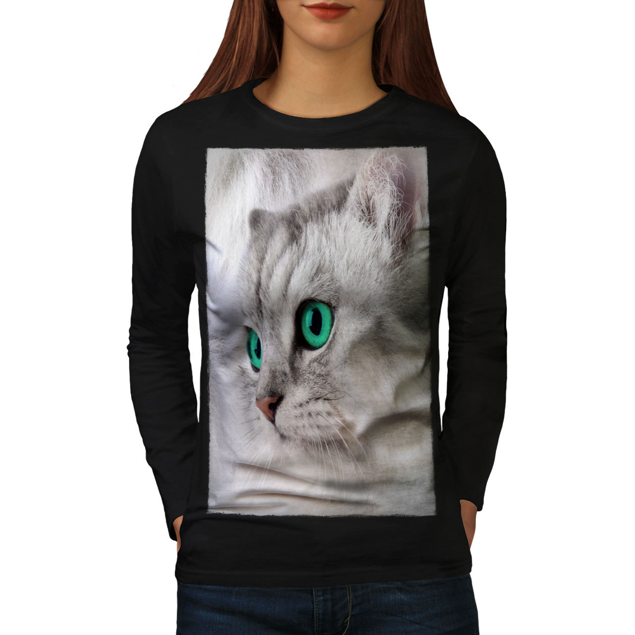 Primary image for Pet Cute Kitten Furry Cat Tee Cat Face Women Long Sleeve T-shirt