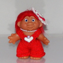 2001 TT Troll Doll, Valentines Day, New Eyes, Hair and Knit Outfit, Neck... - $16.00