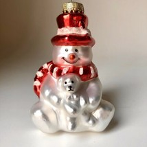 White Polar Bear in Red Top Hat with Teddy Bear Figural Glass Christmas ... - $9.89