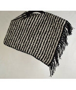 Poncho Womens Wool Handmade Sweaters Chile Black White Striped One Size - $49.50