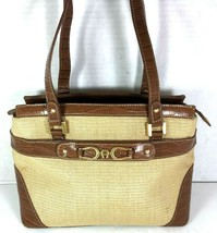 Etienne Aigner Tan Canvas Brown Faux Reptile Print Leather Satchel Shoul... - $46.55