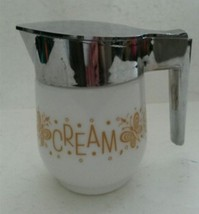 Gemco Butterfly Gold Pattern Cream Pitcher with Chrome Colored Lid - $18.27
