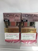 (2) L'Oreal Eye Brightener Creme Age Perfect Rosy Tone Dark Circles 5oz - $19.79