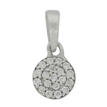 Round CZ 925 Sterling Silver Cluster Disc Circle Design Small Tiny Pendant - $7.39