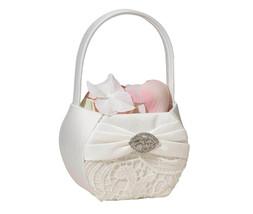 Cream Lace Flower Girl Basket Wedding Flower Girl Basket Vintage Theme - $17.90
