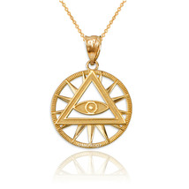 14K Yellow Gold Eye of Providence Illuminati Charm Necklace - $104.99+