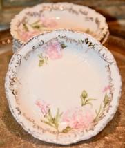 7 Antique German ? Porcelain Dessert Bowls Floral PINK CARNATION GOLD RS... - $89.99