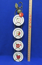 Mini Apple Plates & Vertical Metal Hanging Rack 4 Plates Red Green & Orn... - $27.71