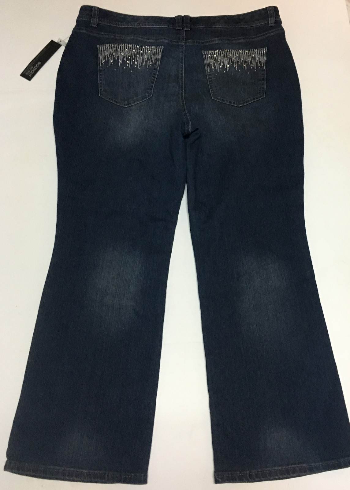 Apt 9 Boot Cut Blue Jeans Mid Rise Straight Hip & Thigh Sz 18S