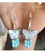 blue butterfly earrings chandelier long teardrop beaded sequin silver ha... - $2.50