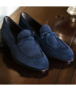 Men Navy blue tassels shoes, Men's fashion suede shoes casual shoes Made... - $149.99+