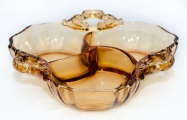 Vintage 3 Section Divided Amber 3 Handle Condiment Serving Dish  - $12.86