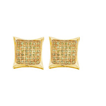 10kt Yellow Gold Round Yellow Colored Diamond Cluster Square Kite Earrin... - $79.99