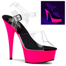 "Pleaser DEL608UV/C/NP Sexy Pink Uv Platform 6"" High Heels Stripper Dancer Shoes - $49.95"