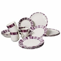 Tudor 16-Piece Porcelain Dinnerware Set, Service for 4 - BOHEME PURPLE, ... - $115.25