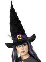 WITCH HAT BLACK  PURPLE BELT, HALLOWEEN FANCY DRESS ACCESSORIES, WOMENS - $7.79