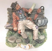 CAPODIMONTE Bisque Figurine Drunk Man On Bench by Carlo Savastano Mint! - $494.00