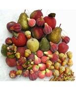 55 Lot Beaded Sugar Fruit Christmas Ornaments Pears Apples Figs Acorns Vintage - $65.00
