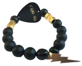 Electric Picks Gold Glimmer Thunder Bolt and Nuts Hardware Black Onyx Bracelet image 2