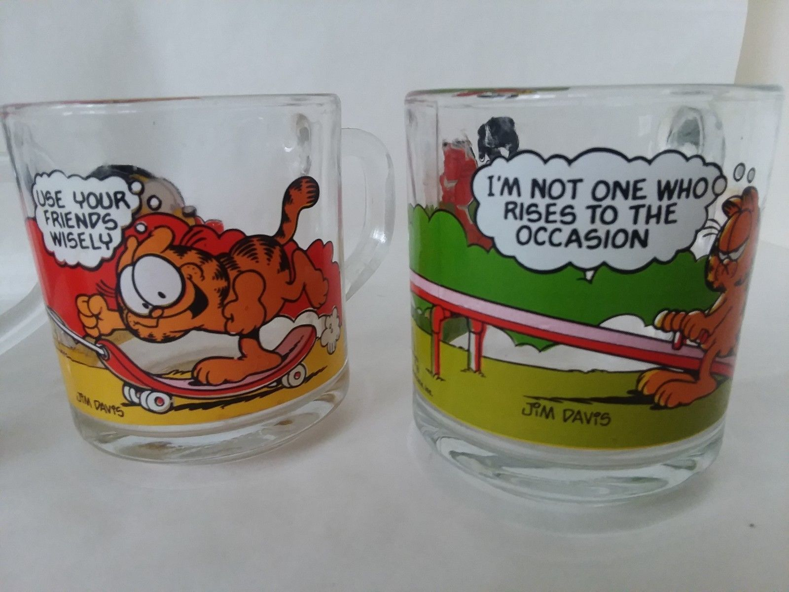 Vintage 1980 McDonald/'s Garfield Odie Glass Coffee Cup Mugs Jim Davis Set Of 2