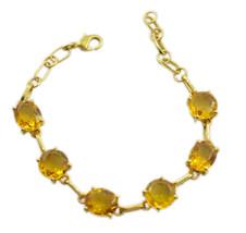 Yellow Gold Plated Glass resplendent Citrine CZ regular Bracelet AU gift - $22.73
