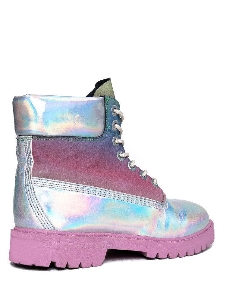 YRU STR8 UP Pink Reflective Hologram Reflective Rainbow Upper Pink Hiking Sole