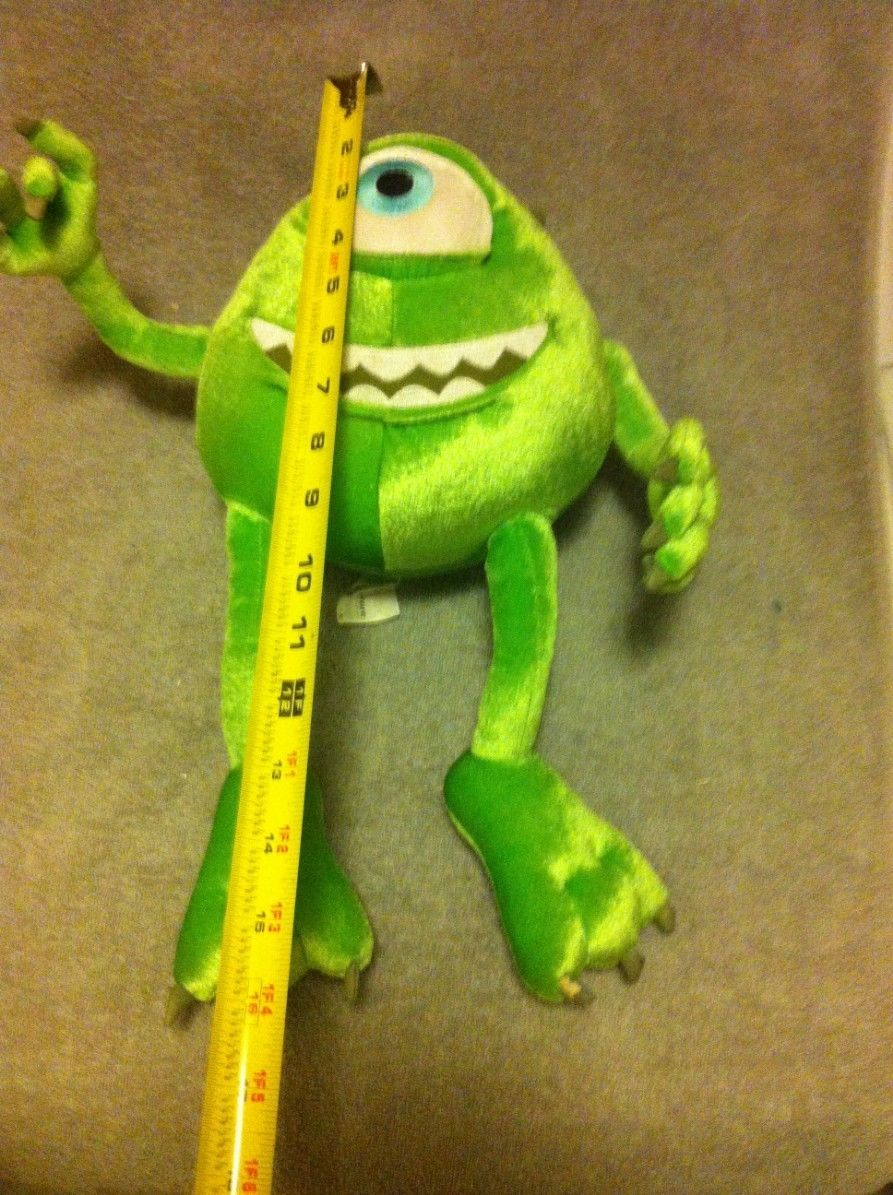 DISNEY PIXAR --MONSTER INC -- STUFFED PLUSH-- ONE EYE MIKE- ---FREE SHIP--VGC