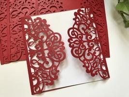 Red Laser Cut Wedding Invitations,Invitation Cards,Birthday Cards,50pcs - $66.78 CAD