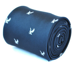 Frederick Thomas navy blue mens tie with flying eagle design silhouette FT1922