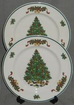 Set (2) Johnson Brothers VICTORIAN CHRISTMAS PATTERN Dinner Plates ENGLAND  - $39.59