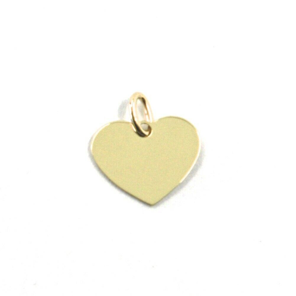 SOLID 18K YELLOW GOLD PENDANT MINI HEART, FLAT, LENGTH 8mm, 0.3 INCHES, CHARM