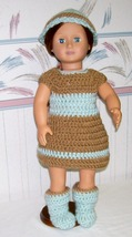 American Girl 3 Piece Brown/Blue Crochet Outfit, Handmade, Dress, Hat, B... - $22.00