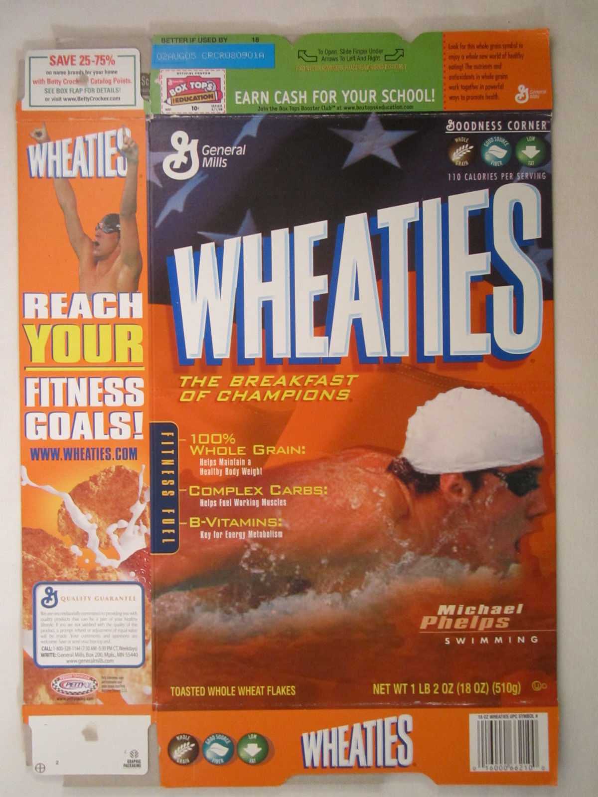 Primary image for MT WHEATIES Box 2004 18oz MICHAEL PHELPS Swimming [G7E12b]