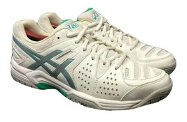 ASICS Gel Dedicate Tennis Shoes E557Y White Silver Mint Womens Size 10 - $49.00
