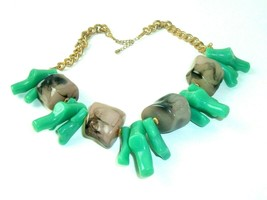 Vintage Necklace Chunky Plastic Lucite Mod Green Gray gold tone Statemen... - $17.81