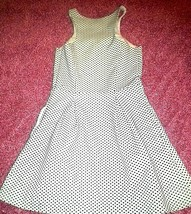 Express-Women's-Sleeveless-Zipper-Black & White-Polka Dot-Lined-Dress-Si... - $15.29