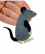 "2.5"" Tall Large Acrylic and Faux Fur Brooch Pin Gray Furry Rat Mouse Ani... - $15.34"