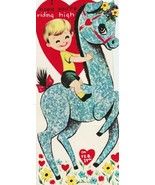 Vintage Valentine Card Little Boy on Tall Blue Horse 1960's Die-Cut for ... - $8.90